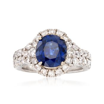 C. 1980 Vintage 2.64 Carat Sapphire and 1.25 ct. t.w. Diamond Ring in 14kt White Gold. Size 4.75, , default
