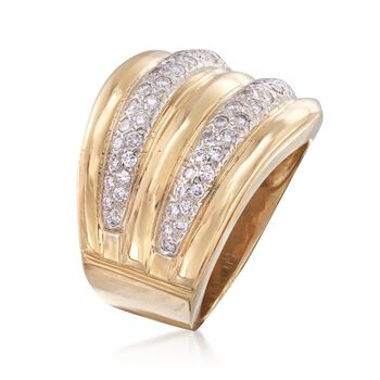 C. 1990 Vintage 1.00 ct. t.w. Diamond Two-Row Ring in 18kt Yellow Gold. Size 8