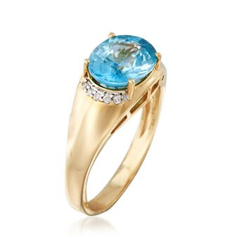 4.10 Carat Blue Zircon Ring with Diamond Accents in 14kt Yellow Gold