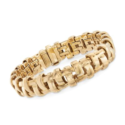 "C. 2002 Vintage Tiffany Jewelry 18kt Yellow Gold ""Vannerie"" Basketweave Bracelet, , default"