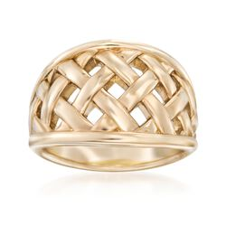 14kt Yellow Gold Open Basketweave Ring, , default