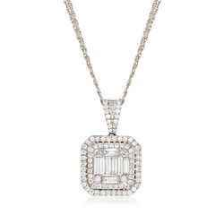 1.30 ct. t.w. Diamond Mosaic Pendant Necklace in 18kt White Gold, , default