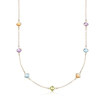 "10.90 ct. t.w. Multi-Stone Station Necklace in 14kt Yellow Gold. 24"", , default"