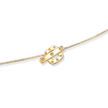 """Roberto Coin """"Pois Moi"""" Mother-Of-Pearl Square Station Necklace in 18kt Yellow Gold. 39.5"""""""
