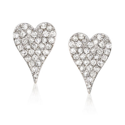 .32 ct. t.w. Diamond Heart Earrings in 14kt White Gold, , default
