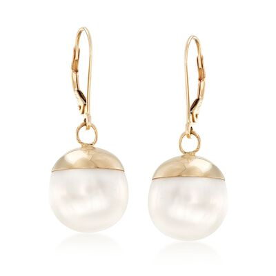 12-13mm Cultured Pearl Drop Earrings in 14kt Yellow Gold, , default