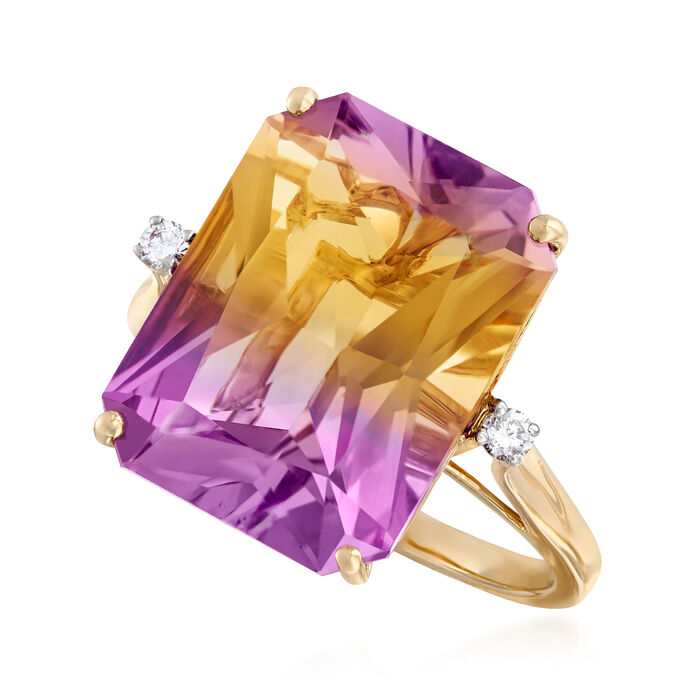 11.00 Carat Ametrine Ring with Diamond Accents in 14kt Yellow Gold