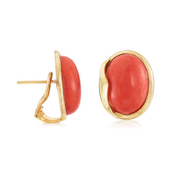 C. 1970 Vintage Orange Coral Cabochon Earrings in 18kt Yellow Gold