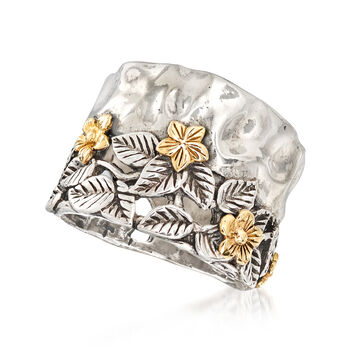 Leaves and Flowers Ring in Sterling Silver and 14kt Yellow Gold, , default