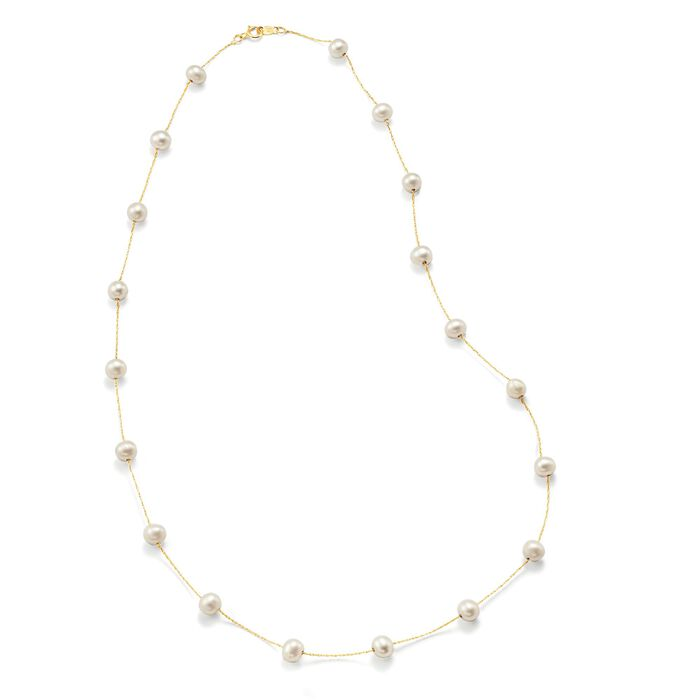 6-6.5mm Cultured Pearl Station Necklace in 14kt Yellow Gold