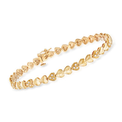 .25 ct. t.w. Pave Diamond Heart Bracelet in 18kt Gold Over Sterling