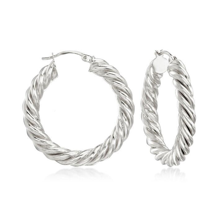 """Sterling Silver Spiral Hoop Earrings. 1 3/8"""", , default"""