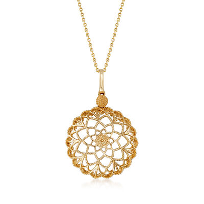 14kt Yellow Gold Cut-Out Flower Pendant Necklace, , default