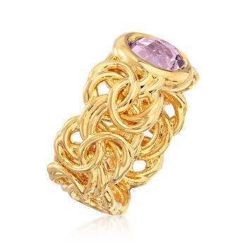 Italian Andiamo 14kt Yellow Gold and 1.80 Carat Amethyst Byzantine Ring. Size 7