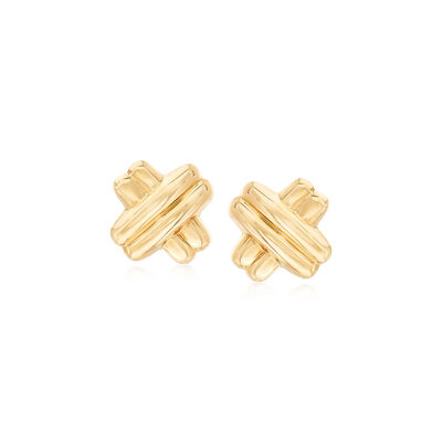 14kt Yellow Gold Double Crisscross Earrings, , default