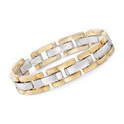 "Italian 18kt Two-Tone Gold Staggered Link Bracelet. 7.75"", , default"