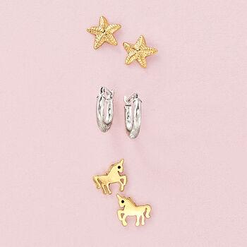 "Child's 14kt White Gold Diamond-Cut Huggie Hoop Earrings. 3/8"""
