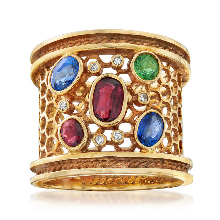 C. 1980 Vintage 1.85 ct. t.w. Multi-Gemstone Ring with Diamond Accents in 18kt Yellow Gold. Size 9, , default