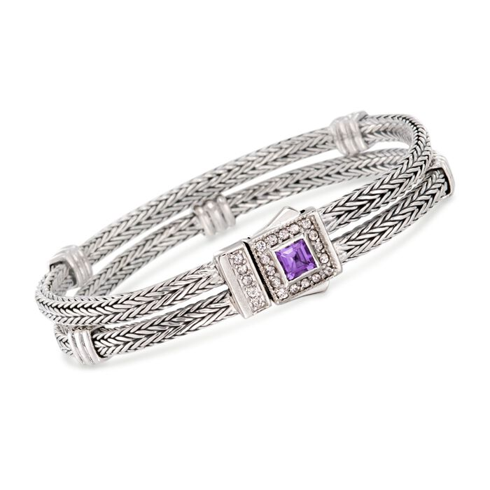 "Phillip Gavriel ""Woven"" .80 Carat Amethyst and .40 ct. t.w. White Sapphire Station Link Bracelet in Sterling Silver"