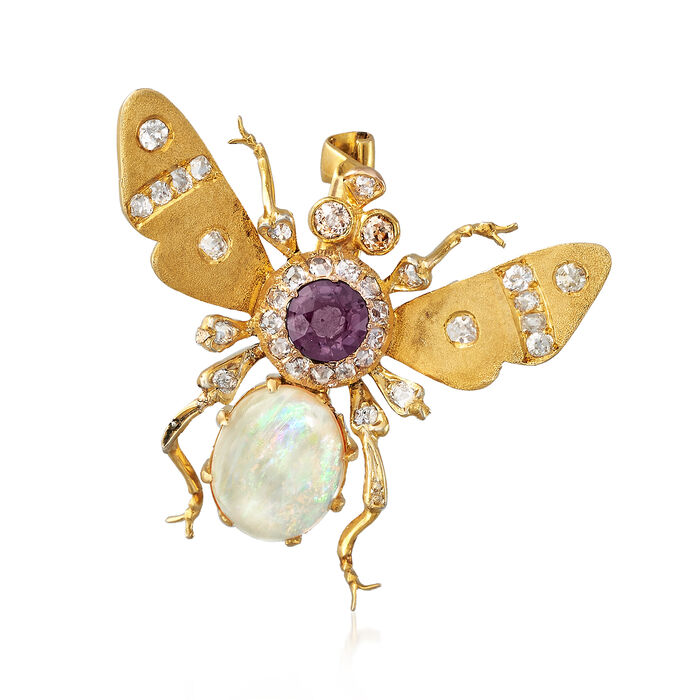 C. 1930 Vintage Opal, .45 ct. t.w. Diamond and Purple Glass Doublet Bug Pin in 18kt Yellow Gold, , default