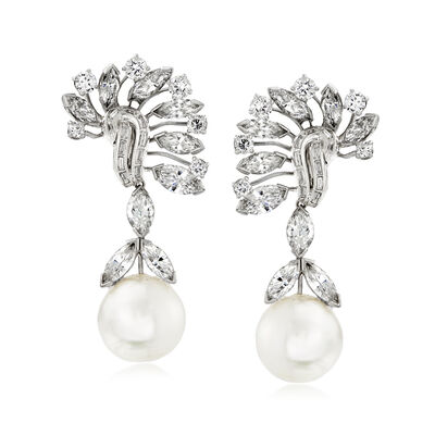 C. 1990 Vintage David Webb 15mm Cultured South Sea Pearl and 12.20 ct. t.w. Diamond Drop Clip-On Earrings in Platinum, , default
