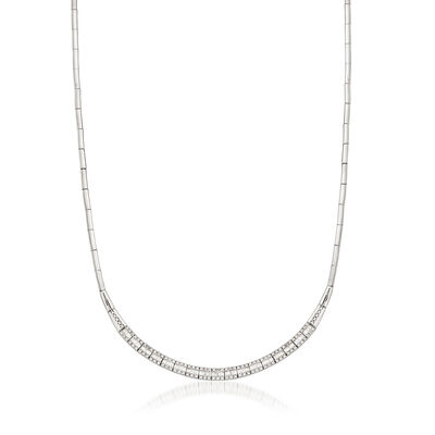 C. 1990 Vintage 1.10 Diamond 18kt White Gold Necklace, , default