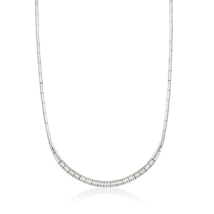 """C. 1990 Vintage 1.10 Diamond 18kt White Gold Necklace. 15.5"""", , default"""