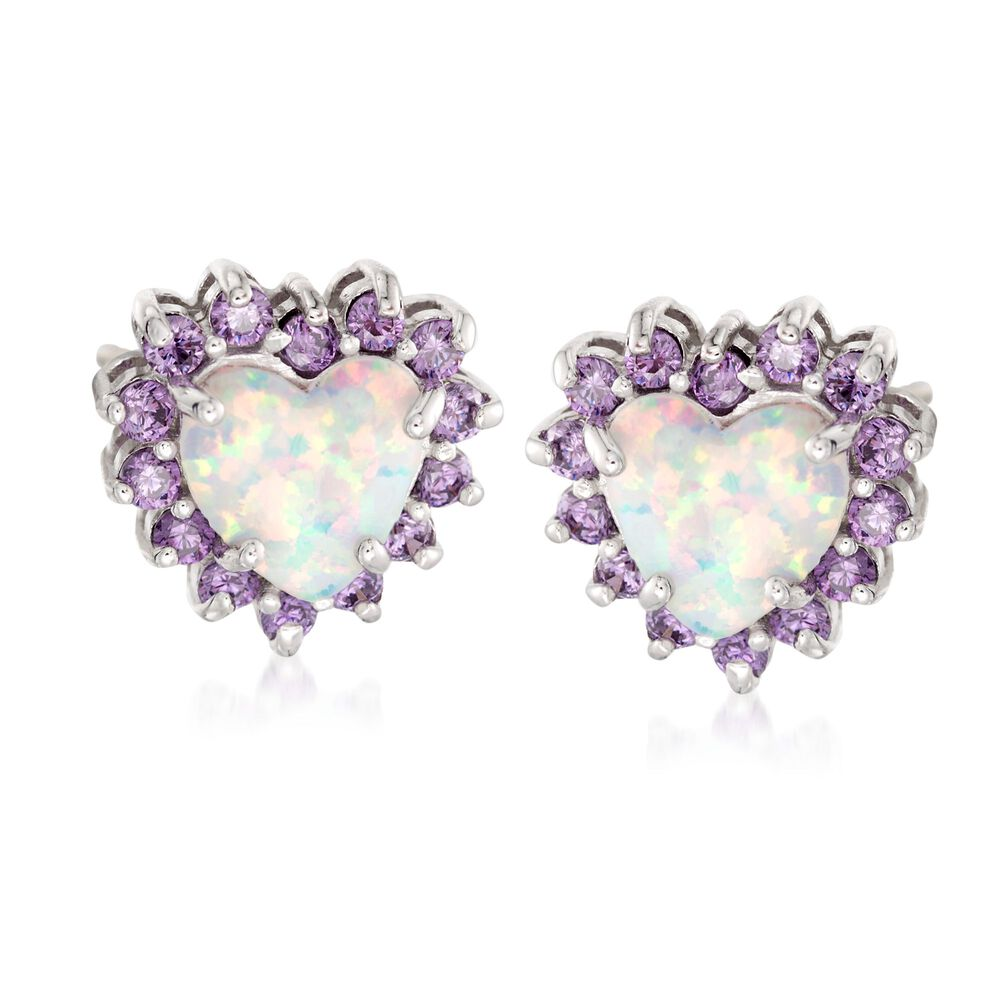 Simulated Opal And Amethyst Heart Stud Earrings In Sterling Silver Default