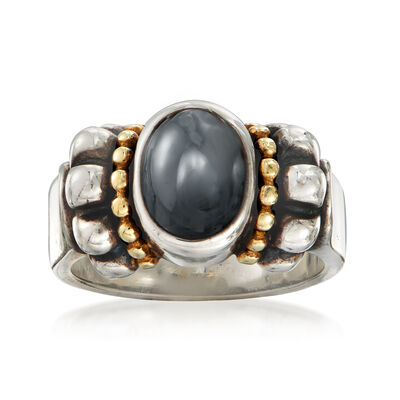 C. 1990 Vintage Hematite Oval Ring in Sterling Silver and 14kt Yellow Gold, , default