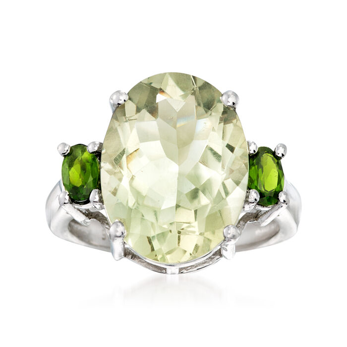 8.00 ct. t.w. Green Prasiolite and .40 ct. t.w. Diopside Ring in Sterling Silver