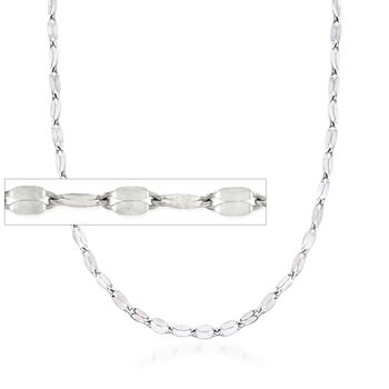 Italian 2mm Sterling Silver Adjustable Slider Flat-Link Chain Necklace , , default