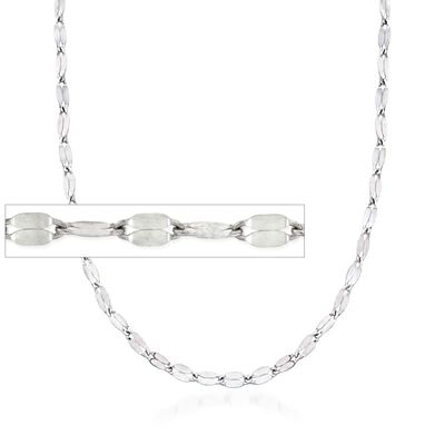 Italian 2mm Sterling Silver Adjustable Slider Flat-Link Chain Necklace, , default