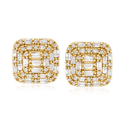 1.00 ct. t.w. Baguette and Round Diamond Earrings in 14kt Yellow Gold