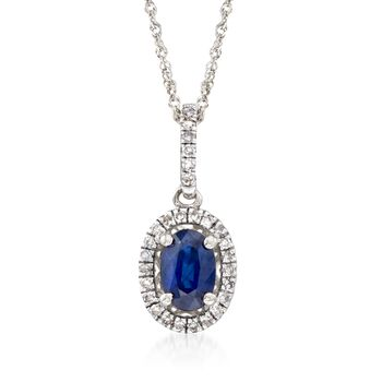 """.60 Cart Sapphire and .12 ct. t.w. Diamond Pendant Necklace in 14kt White Gold. 18"""", , default"""