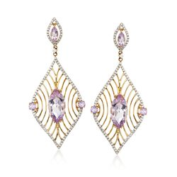 6.05 ct. t.w. Pink Amethyst and .59 ct. t.w. Diamond Marquise Drop Earrings in 14kt Yellow Gold, , default