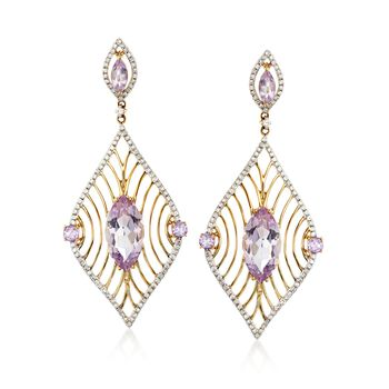6.05 ct. t.w. Pink Amethyst and .59 ct. t.w. Diamond Marquise Drop Earrings in 14kt Yellow Gold , , default