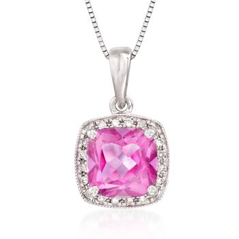 """1.00 Carat Pink Topaz Necklace With Diamonds in 14kt White Gold. 18"""", , default"""