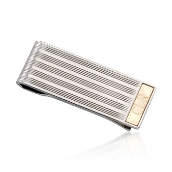 Sterling Silver and 14kt Yellow Gold Personalized Line Bar Money Clip, , default