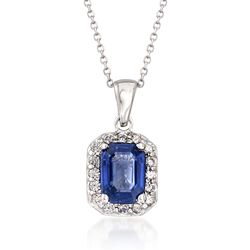 "1.70 Carat Sapphire and .25 ct. t.w. Diamond Pendant Necklace in 14kt White Gold. 16"", , default"