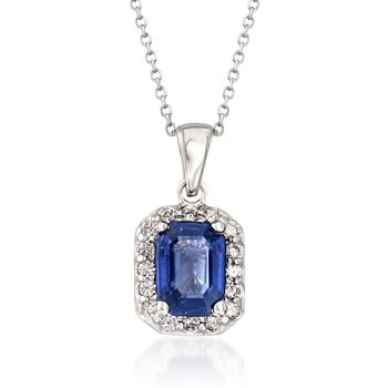 """1.70 Carat Sapphire and .25 ct. t.w. Diamond Pendant Necklace in 14kt White Gold. 16"""", , default"""