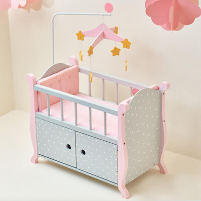 "Child's ""Polka Dots Princess"" Baby Doll Bed with Cabinet in Gray"