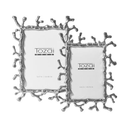 Set of Two Silver Coral Photo Frames, , default