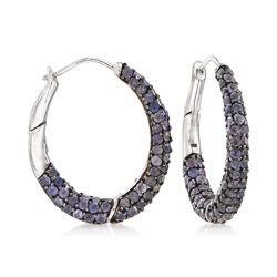10.00 ct. t.w. Pave Iolite Hoop Earrings in Sterling Silver, , default