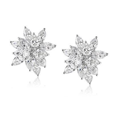 8.41 ct. t.w. Diamond Floral Earrings in 18kt White Gold