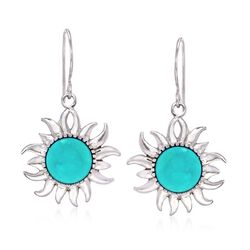 Turquoise Sunburst Drop Earrings in Sterling Silver , , default