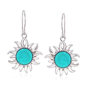 Turquoise Sunburst Drop Earrings in Sterling Silver , , default