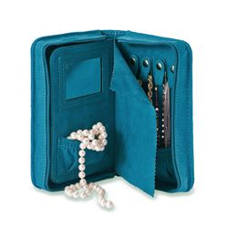 Teal Microsuede Travel Jewelry Case, , default