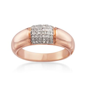 .20 ct. t.w. Pave Diamond Dome Ring in 14kt Rose Gold Over Sterling, , default