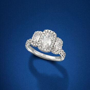 Henri Daussi 2.02 ct. t.w. Diamond Engagement Ring in 18kt White Gold, , default