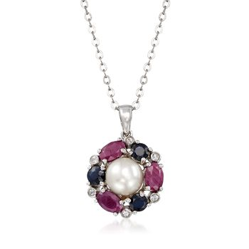 """7.5-8mm Cultured Pearl and 2.80 ct. t.w. Multi-Stone Pendant Necklace in Sterling Silver. 18"""", , default"""